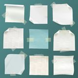Vector note papers set - lined, checkered pages stock illustration