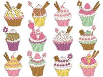 Vector Set of Various Cupcakes Royalty Free Stock Image