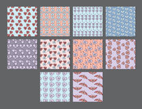 Vector set for various heart shape patterns Royalty Free Stock Photography