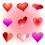 Vector set of a various hearts Stock Images