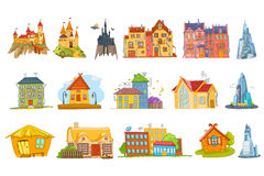 Vector set of various houses illustrations. Stock Image