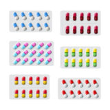 Vector set of various medical pills in packaging flat style Stock Photo