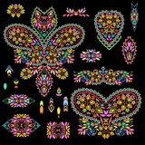 Bright bohemian ethnic cliche with paisley and decorative elements. Royalty Free Stock Image