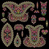 Bright bohemian ethnic cliche with paisley and decorative elements. Stock Image