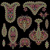 Bright bohemian ethnic cliche with paisley and decorative elements. Royalty Free Stock Photos