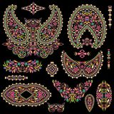 Bright bohemian ethnic cliche with paisley and decorative elements. Stock Images