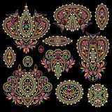 Bright bohemian ethnic cliche with paisley and decorative elements. Stock Photo