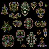 Bright bohemian ethnic cliche with  decorative elements. Vector set of various ornaments, deco template. Oriental trendy print for decoration, gift, design Stock Photo