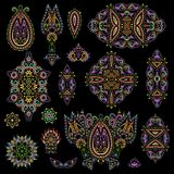 Bright bohemian ethnic cliche with paisley and decorative elements. Vector set of various ornaments, deco template. Oriental trendy print for decoration, gift Stock Photo
