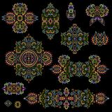 Bright bohemian ethnic cliche with paisley and decorative elements. Vector set of various ornaments, deco template. Oriental trendy print for decoration, gift Royalty Free Stock Photos