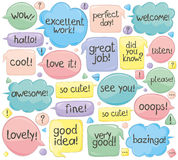 Handwritten Phrases In Speech Balloons. Vector set of various phrases in speech balloons. Handwritten text Royalty Free Stock Photo