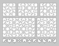 Vector set of various puzzles and jigsaw pieces. 16, 20, 24, 36 and 60 pieces. Vector illustration. Vector set of various puzzles and jigsaw piece. Vector royalty free illustration