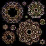 Bright bohemian ethnic cliche with  decorative elements. Vector set of various round ornaments, deco template. Oriental trendy print for decoration, gift Stock Photos