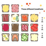 Vector set of various sandwiches. A varied Breakfast Stock Photography