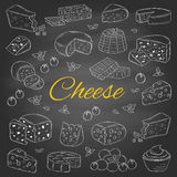Vector set of various types of cheese, hand drawn illustration  on chalkboard background. Royalty Free Stock Images