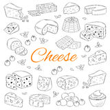 Vector set of various types of cheese, hand drawn illustration  on chalkboard background. Stock Photography