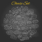 Vector set of various types of cheese, hand drawn illustration isolated on chalkboard background. Stock Photos