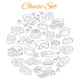 Vector set of various types of cheese, hand drawn illustration isolated on white background. Royalty Free Stock Photos