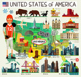 Vector Set of Various United States of America skyline Icons Stock Image