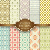 Vector set of various vintage seamless patterns in pastel colors stock image