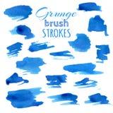 Vector set of various watercolor brush strokes. Royalty Free Stock Photo