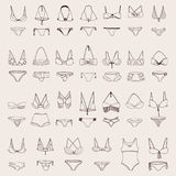 Vector set with various women swimsuits. Hand drawn illustration collection, isolated om background, drawn with imperfections. Ink Royalty Free Stock Images