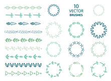 Vector set of 10 vector floral, abstract brushes Stock Images