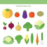 Vector set vegetables in flat Stock Photo