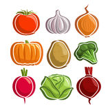 Vector Set Vegetables simple Logo Stock Images