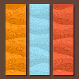 Vector set vertical banners for Autumn season. 3 layouts with falling leaves background, rain fall template for title text, flyer with blue rainfall drops Royalty Free Stock Photos