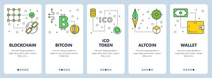 Vector modern thin line blockchain concept web banners. Vector set of vertical banners with Blockchain, Bitcoin, ICO token, Altcoin, Wallet concept website Royalty Free Stock Photo