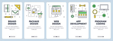Vector modern thin line brand design concept web banners. Vector set of vertical banners with Brand design, Package design, Web design, App development, Program Stock Images