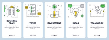 Vector modern thin line business plan concept web banners. Vector set of vertical banners with Business plan, Tasks, Investment, Ideas, Teamwork website Royalty Free Stock Photos