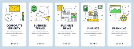 Vector modern thin line business concept web banner set. Vector set of vertical banners with Corporate identity, Business travel, Business news, Finance Royalty Free Stock Photography