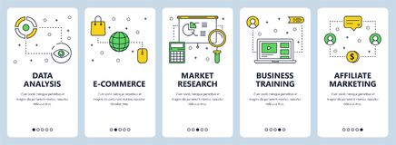 Vector modern thin line data analysis concept web banners. Vector set of vertical banners with Data analysis, E-commerce, Market research, Business training Stock Photography