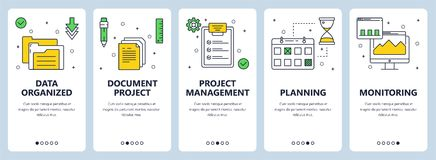 Vector modern thin line project management concept web banner set. Vector set of vertical banners with Data organized, Document project, Project management Royalty Free Stock Photo
