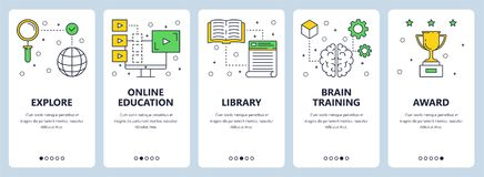 Vector modern thin line education concept web banner set. Vector set of vertical banners with Explore, Online education, Library, Brain training, Award website Royalty Free Stock Photography