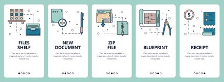 Vector line art web and mobile app template set. Vector set of vertical banners with Files shelf, New document, Zip file, Blueprint, Receipt website and mobile Stock Image