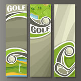 Vector set Vertical Banners for Golf Course. 3 template for title text on golf course theme, golf club shot ball, outdoor nature with lake, abstract vertical Royalty Free Stock Image