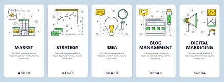 Vector modern thin line market concept web banner set. Vector set of vertical banners with Market, Strategy, Idea, Blog management, Digital marketing website Stock Images