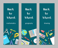 Vector set vertical banners mathematics, geography, drawing school supplies flat. Vector illustration, back to school set vertical banners mathematics, geography Royalty Free Stock Image