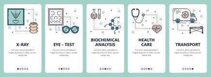 Vector line art web and mobile app template set. Vector set of vertical banners with X-ray, Eye-test, Biochemical analysis, Health care, Transport website and vector illustration
