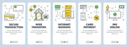 Vector modern thin line secure transactions concept web banner set. Vector set of vertical banners with Secure transaction, Wire transfers, Internet banking Stock Images