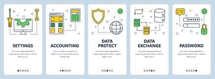 Vector modern thin line settings concept web banner set. Vector set of vertical banners with Settings, Accounting, Data protect, Data exchange, Password website vector illustration