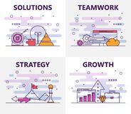 Vector modern thin line flat design business concept banners. Vector set of vertical banners with Solutions, Teamwork, Strategy, Growth concept web templates Stock Image
