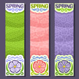 Vector set vertical banners for Spring season. 3 layouts with floral background, Flowers templates with title text - spring, springtime flyers with lilac Stock Image
