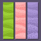 Vector set vertical banners for Spring season. 3 layouts with floral background, Flowers templates for title text, springtime flyers with lilac flower art Stock Image