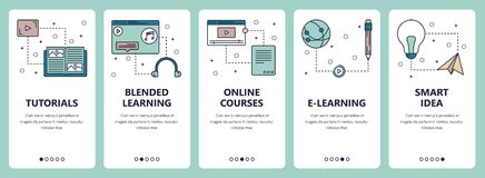 Vector line art web and mobile app template set. Vector set of vertical banners with Tutorials, Blended learning, Online courses, E-learning, Smart idea website royalty free illustration