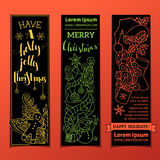 Vector set of vertical bright Christmas banners. Royalty Free Stock Images