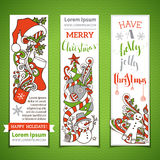 Vector set of vertical cartoon Christmas banners. Royalty Free Stock Image